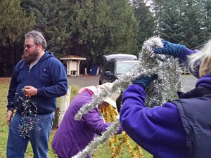 Christmas tree decorating in Amboy